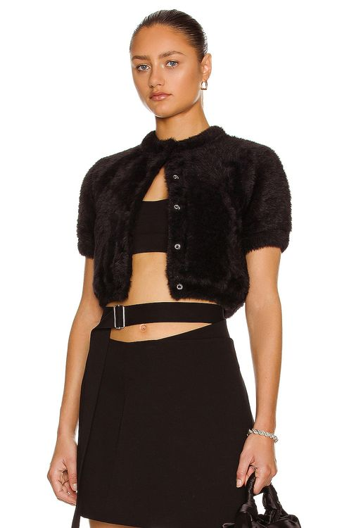 T by Alexander Wang Short Sleeve Cropped Cardigan