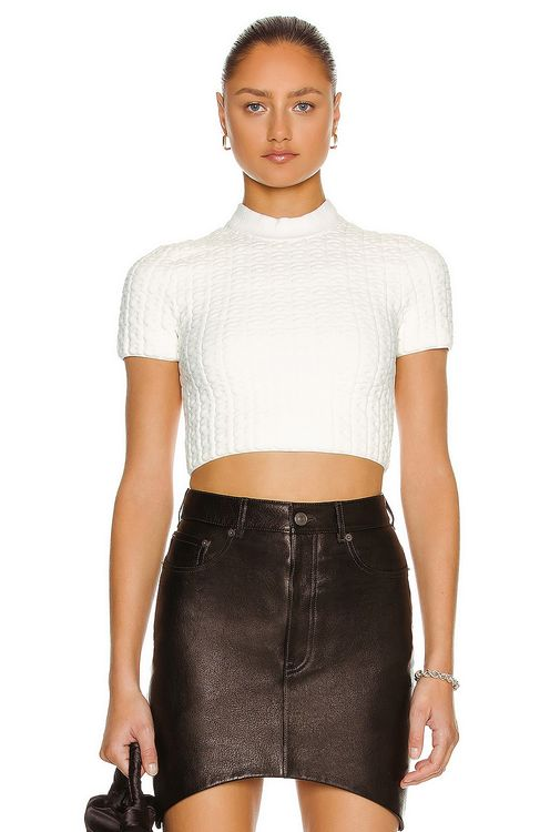 T by Alexander Wang Cropped Short Sleeve Knit Top