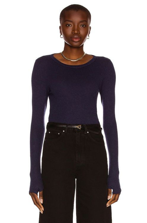 ENZA COSTA Silk Cashmere Rib Long Sleeve Fitted Crew Top