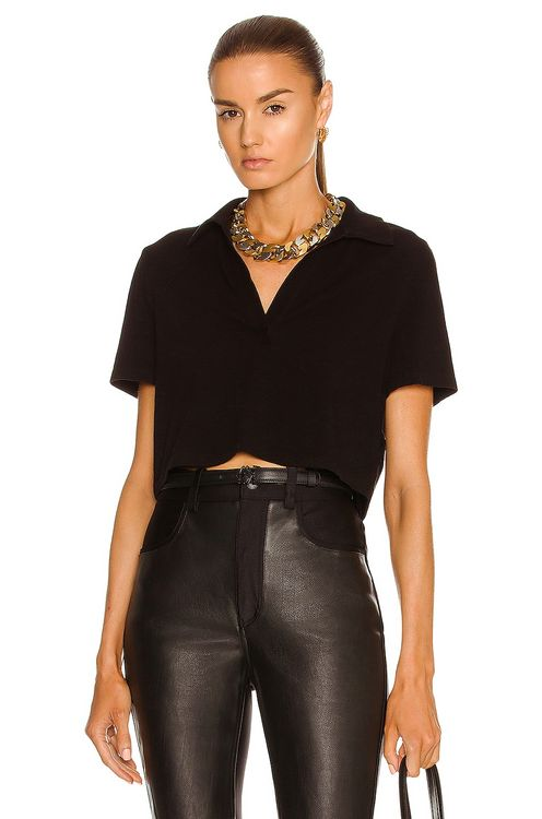 The Range Cropped Short Sleeve Polo Top