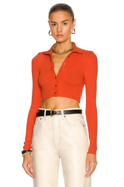 The Range Cropped Button Turtleneck Top