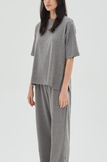 Shopatvelvet Gala Ribbed Knit Top in Grey